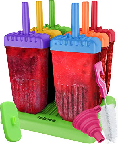 Ice Lolly Moulds BPA Free - 6 Lolly Pop Makers + 1 Silicone Lid + Silicone...