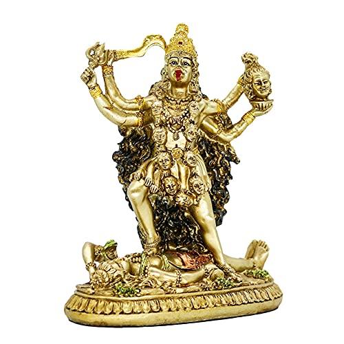 Hindu Goddess Kali Statue Sculpture - Indian God Decorative Antique Idol - India Goddess of Time and Death Figurine Murti Pooja Puja Buddha Temple Mandir Decor
