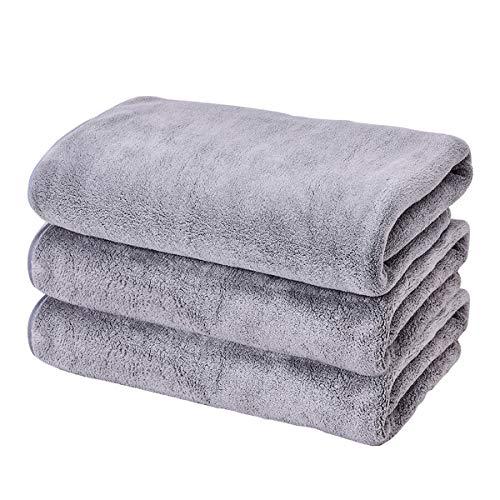 VAILGE バスタオル 吸水速乾 マイクロファイバー バスタオル 柔らか肌触り タオル 3枚セット 140×70cm グレー