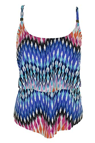 24th & Ocean Women's 2-Tiered Ruffle Tankini Swimsuit Top, Blue/Yellow/Making Waves, Medium