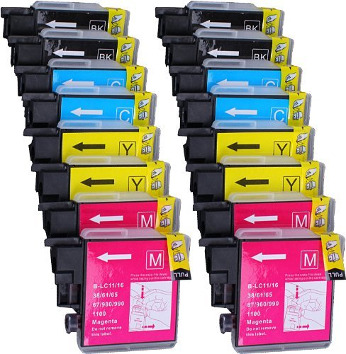 16 unidades compatibles Brother LC-1100, LC-980, LC-985 4 negro, 4 cian, 4 magenta, 4 amarillos para uso con Brother DCP-145C, DCP-163C, DCP-165C, DCP-167C, DCP-185C, DCP-195C, DCP-197C, DCP-365CN, DCP-373CW, DCP-3CW, DCP-3CW, DCP-3CW, DCP-3CW. 75 CW, DCP-377CW, DCP-383C, DCP-385C, DCP-387C, DCP-395CN, DCP-585CW, DCP-6690CW, DCP-J125, DCP-J140W, DCP-J315W, DCP-J515W, DCP-J715W, MFC-250C, MFC-255CW, MFC-257CW, MFC-290C, MFC-295C. CN, MFC-29 7C, MFC-490CW, MFC-5490CN, MFC-5890CN, MFC-5895CW, MFC-6490CW, MFC-6890CDW, MFC-790CW, MFC-795CW, MFC-990CW, MFC-J220, MFC-J265W, MFC-J410, MFC-J415W, MFC-J615W. Cartuchos de tinta para tinta. impresoras de chorro LC- 1100BK , LC-1100C, LC-1100M, LC-1100Y, LC-980BK , LC-980C, LC-980M, LC-980Y, LC-985BK , LC-985C, LC-985M , LC-985Y