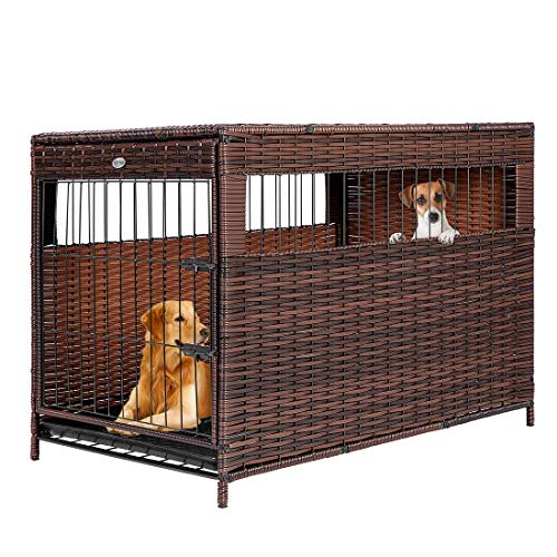 DEStar Heavy Duty PE Rattan Wicker Pet Dog Cage Crate Indoor Outdoor Puppy House Shelter with Removable Tray and UV Resistant Cover (Large - 29' W x 32' H)