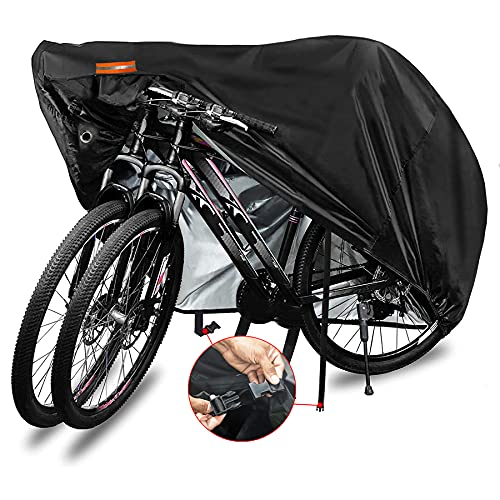 Indeed BUY Bike Cover for 2 or 3 Bikes Waterproof Bicycle Cover Outdoor Bike Storage Covers XL XXL 420D Heavy Duty Rain Sun UV Wind Proof for Mountain Road Electric Bike etc
