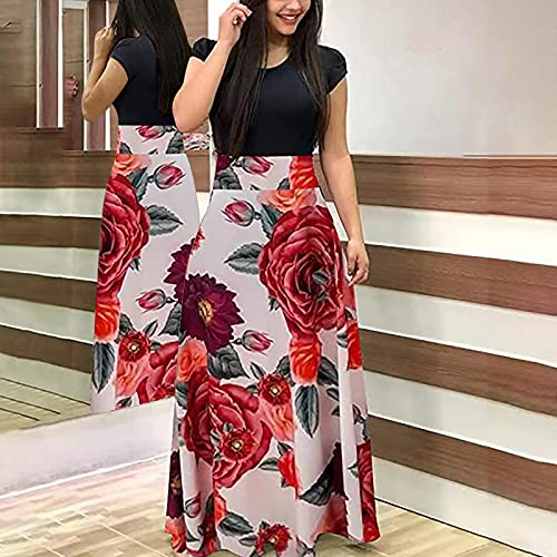 Nuevo 2021 Vestidos largo Muje Elegante Fiesta Vestido de Cóctel Vestido de Noche impresión Patchwork Vestido Moda Vestidos largo Sexys Vestidos Manga corto vestido playa mujer Vacaciones