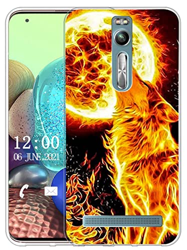 Sunrive Kompatibel mit Asus Zenfone 2 ZE551ML Hülle Silikon, Transparent Handyhülle Schutzhülle Etui Hülle (X Wolf)+Gratis Universal Eingabestift MEHRWEG