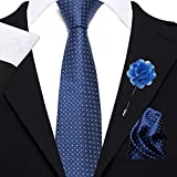 Axlon Men's Micro Polyester Necktie Set with Pocket Square and Lapel Pin (Blue , Free Size)