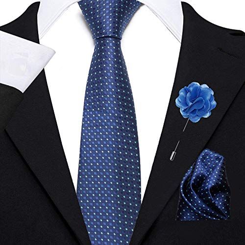 nu-Lite Men's Micro Polyester Necktie Set with Pocket Square and Lapel Pin (Blue , Free Size)