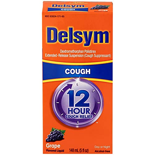 Delsym Adult Cough Suppressant Liquid, Grape Flavor, 5 Ounce