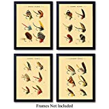 Vintage Lures Wall Art Prints - Set of Four (8X10) Unframed Photos - Makes a Great Gift For Fly...