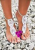White crochet barefoot sandals, Bridal Barefoot Sandals, Bridal Foot jewelry, Beach wedding barefoot sandals, Lace shoes, Beach wedding sole less shoes