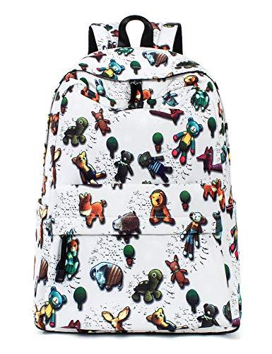 Leaper Cat Face Backpack Girls Daypack Travel Bag Satchel Handbag Beige