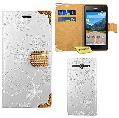 Huawei Ascend Y530 Handy Tasche, FoneExpert® Bling Luxus Diamant Hülle Wallet Case Cover Hüllen Etui Ledertasche Premium Lederhülle Schutzhülle für Huawei Ascend Y530 (Weiß)