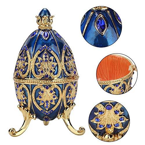 HEEPDD Gold überzogene künstliche Diamant-Osterei-handgemalte emaillierte Faberge-Ei-Schmuckschatulle für Halsketten-Armband-Schmuckstück-Ausgangsdesktop-Dekor-Geschenke