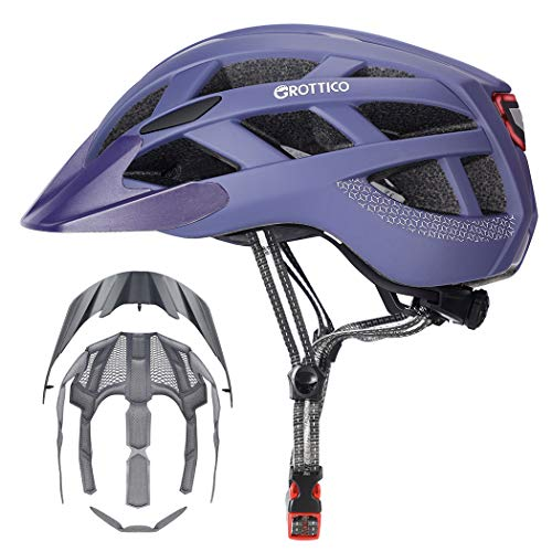 GROTTICO Adult-Men-Women Bike Helmet with Light - Mountain Road Bicycle Helmet with Replacement Pads & Detachable Visor