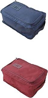 joyMerit 2x Housses Chaussures Sacs à Chaussures de Voyage Imperméable, Bleu Foncé et Vin Rouge