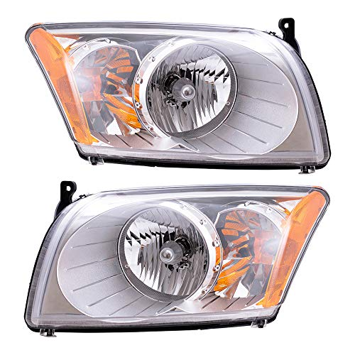 Headlights Headlamps Driver and Passenger Replacements for 07-12 Dodge Caliber 5303739AJ 5303738AJ
