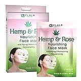 CLAIR BEAUTY Hemp & Rose Nourishing Sheet Face Mask - Deeply Moisturizing, Anti Aging & Rejuvenating | Reduces Fine Lines & Wrinkles | Locks in Moisture Restoring Dry Skin | Made in Korea - 5 Pack