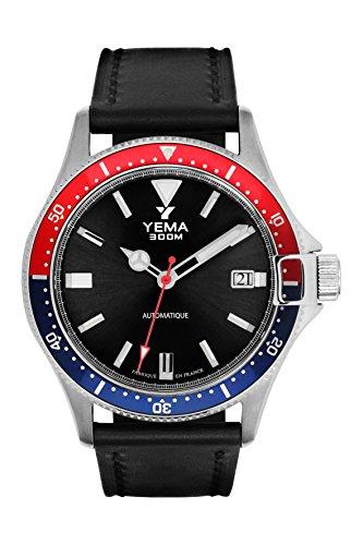 Armbanduhr Herren–Yema–Pro Diver–Automatische–Armband Leder Schwarz Glatt–42mm–30bar–ymhf1554-aa