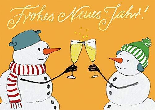 Neujahrskarte Schneemänner Sekt mit Daumenkino-Effekt