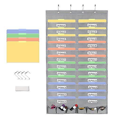 Magicfly Ordnungsmappe zum Aufhängen, Wand Organizer hängende Datei Organizer für Datei, Dokumente, Papier, Grau