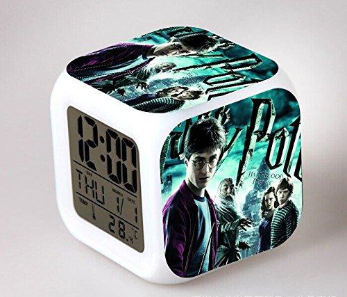 Harry Potter 7 Colors Change Led Anime Action Figure Alarm Clock Cartoon Saat Despertador Digital Clock Collectible Glowing Toys