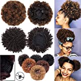 Afro Kinky bouclés Extension a clip cheveux Queue de cheval Naturel africain Puff Queue de cheval dégradé africain Perruque Vin rouge