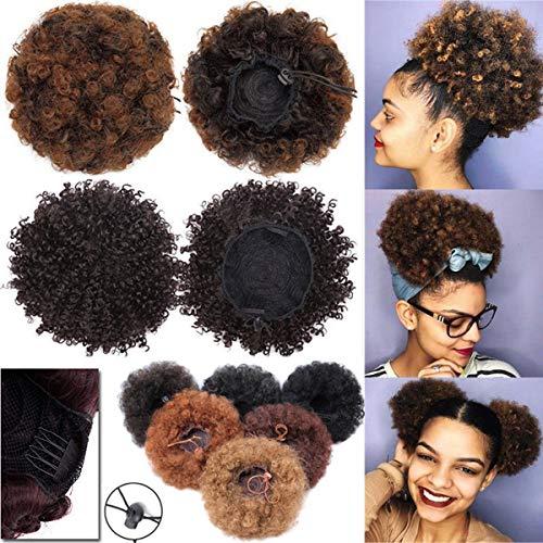 Extensión del Pelo Natural Afro Rizado Rizado Updo Envoltura en el Pelo Cordón de Soplo Cola de Caballo Castaño oscuro