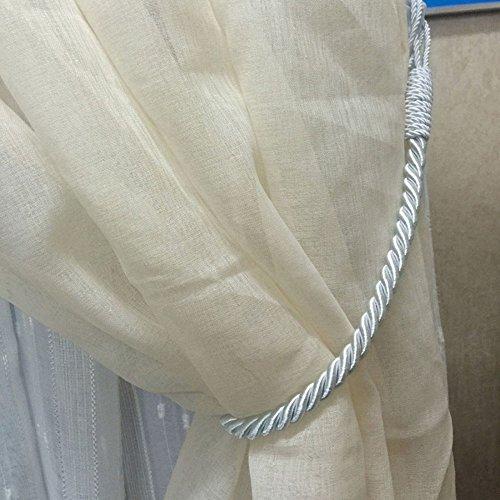 Mald 2 Stück Vorhang Gardine Raffhalter Anhänger Vorhanghalter Zugband Holdback Baumwoll Seil (Grau)