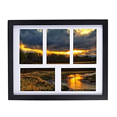 Alotpower Wall Picture Frame 11x14, Multiple Picture Frame Displays Five 4x6 Inch Pictures,Black