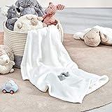 SLEEP ZONE Flannel Fleece Baby Blankets Bed Throw Soft Fuzzy Warm Cozy Plush Microfiber Blanket Unisex for Girls, Boys, Kids, Toddlers, Infant, Newborn (30'x40', White)