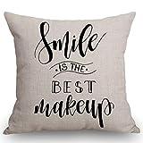 WXM Smile is The Best Maquillaje Funda de almohada, Cita positiva sobre la sonrisa Decoración de casa de campo, algodón y lino, funda de cojín decorativa para sofá de 45,72 x 45,72 cm