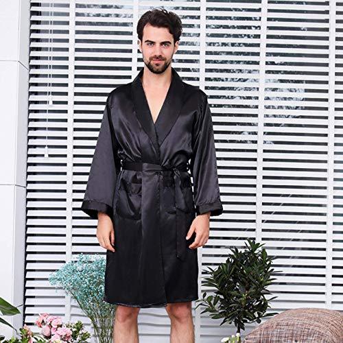 ZWWZ Pantalones de Seda de Seda de Dos Piezas Pantalones de Pijama o Pantalones Cortos de Albornoz Sets Ropa de Dormir de Manga Larga para Hombres MISU (Color : Black Robe Shorts, Size : XL6582 KG)