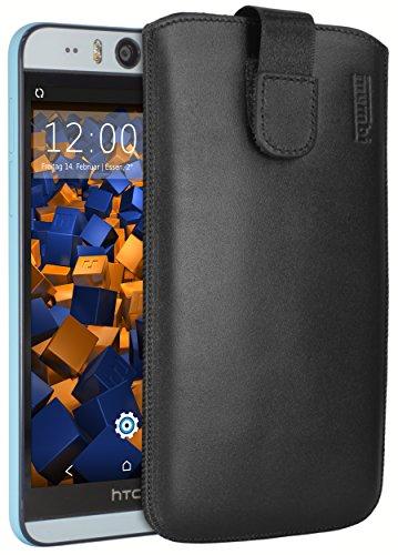 mumbi Echt Ledertasche kompatibel mit HTC Desire Eye Hülle Leder Tasche Hülle Wallet, schwarz