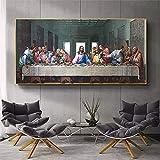 Cuadros e impresiones 50x100cm sin marco Leonardo da Vinci- Última Cena en la pared Arte Carteles e impresiones Arte famoso Jesús Cuadro de pared Decoración del hogar