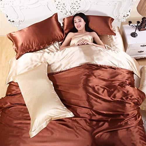 Revestimientos de cama 41hot!Conjunto de ropa de cama de seda de satén 100% pura, juego de cama de tamaño king de textiles for el hogar, ropa de cama, cubierta de edredón Pastilla plana Pillowcasas al