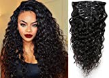 20' Water Wave Curly Clip in Human Hair Extensions Natural Black 7 Pcs 120g Wavy...