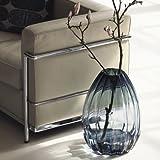 2 Lips Bodenvase, Glasvase, große Vase, Mungeblasenes Glas, Blau (H: 34 cm) - 5