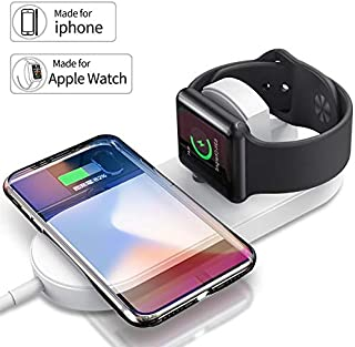 2 in 1 Qi Wireless Charger for iPhone 8 Plus X XR XS Max 7.5W Fast Charging Pad Stand for iWatch Apple Watch Series
