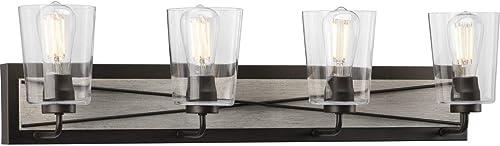 lowest Briarwood Collection 4-Light Clear lowest Glass Coastal Bath Vanity Light popular Graphite sale