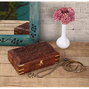Customer reviews Black Friday Sale Decorative Wooden Jewellery Trinket Holder Keepsake Storage Box Organiser with Intricately Hand Carved Floral Design & Velvet Interior Christmas Gifts:Donald-trump