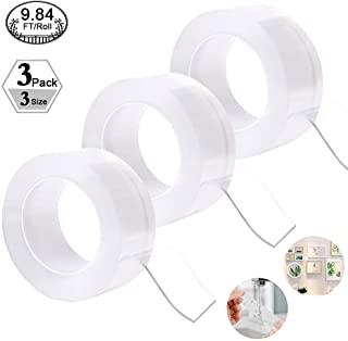 3 Pack Traceless Washable Adhesive Tape, 9.84FT Reusable Clear Double-Sided Removable Gel Grip Tape Anti-Slip Nano for Paste Photos, Posters, Carpet Mats, Home and Kitchen