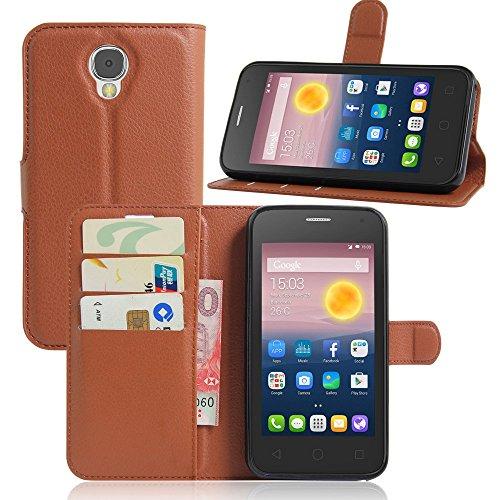 Ycloud Tasche für Alcatel Pixi 4 (5.0 Zoll) 5010D 3G Version Hülle, PU Ledertasche Flip Cover Wallet Case Handyhülle mit Stand Function Credit Card Slots Bookstyle Purse Design braun