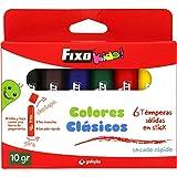 Fixo Kids. 35399 Caja de 6 Témperas Sólidas en Stick, Colores Surtidos Clásicos
