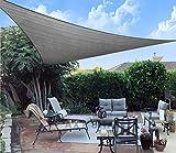 AXT SHADE Toldo Vela de Sombra Triangular 5 x 5 x 7 m, protección Rayos UV y HDPE Transpirable para Patio, Exteriores, Jardín, Color Gris