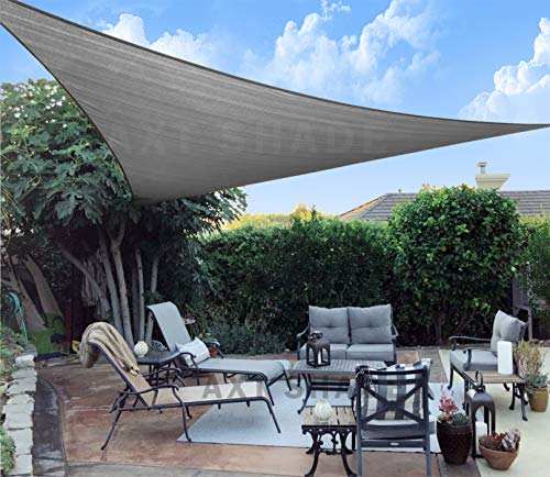 AXT SHADE Sonnensegel Dreieck 4x4x5,65m,atmungsaktiv Sonnenschutz HDPE mit UV Schutz für Terrasse, Balkon und Garten- Graphit