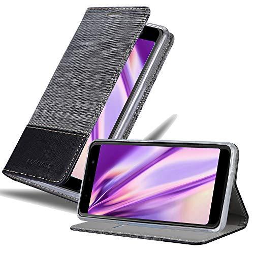 Cadorabo Hülle für WIKO View MAX in GRAU SCHWARZ - Handyhülle mit Magnetverschluss, Standfunktion & Kartenfach - Hülle Cover Schutzhülle Etui Tasche Book Klapp Style