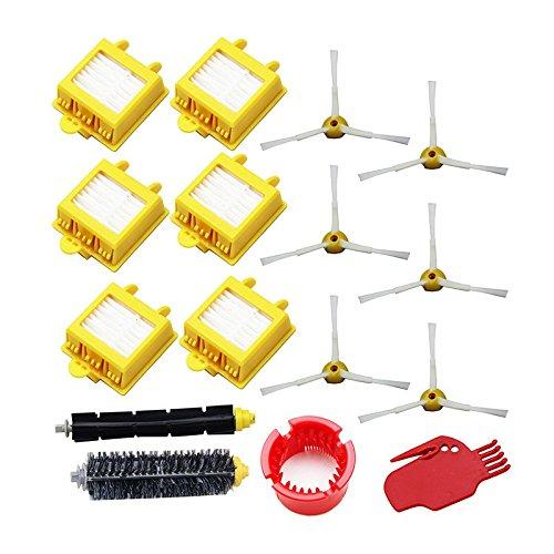 UP100 16 pcs filtres Hepa Brosse à poils souples Batteur Brosse 3-armed côté Brosse Pack Lot de pour iRobot Roomba Série 700 760 770 780 790 avec outil de nettoyage