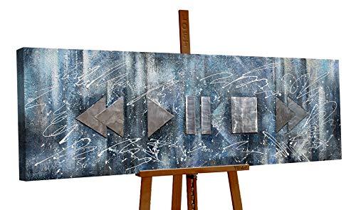YS-Art Loft | cuadro pintado a mano Lebensrhythmus | cuadro moderno acrilico | 150x50 cm | lienzo pintado a mano | cuadros dormitories | único | Gris | LT009