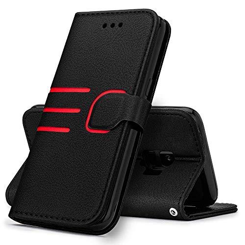 LCHULLE Handyhülle Kompatibel mit Samsung Galaxy A70 Hülle Premium Leder Flip Schutzhülle Schlanke Brieftasche Lederhülle für Samsung A70 Schwarz