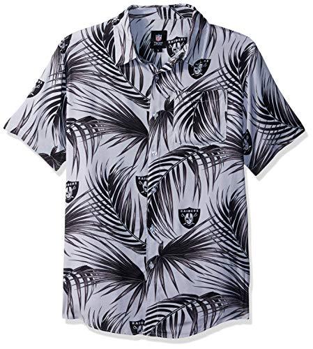 Oakland Raiders NFL Mens Hawaiian Button Up Shirt - L